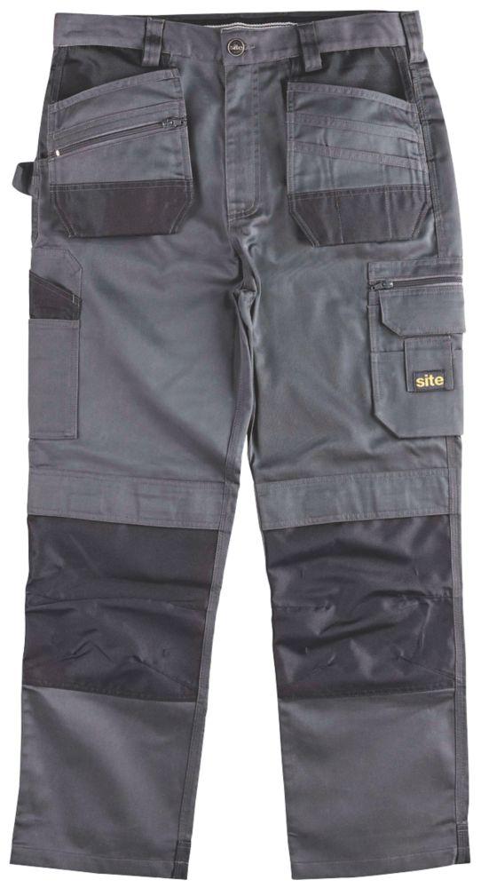 "Site Jackal Work Trousers Grey / Black 40"" W 30"" L"