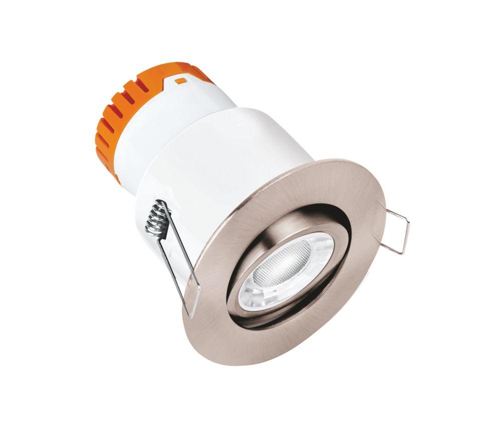 Enlite E8 Adjustable  Fire Rated LED Downlight Satin Nickel 610lm 8W 220-240V