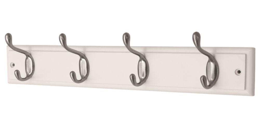 Smith & Locke Hook Rail White/Satin Nickel 455 x  90mm