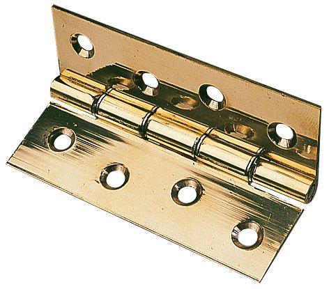 Polished Brass Washered Hinge 76 x 51mm 2 Pack