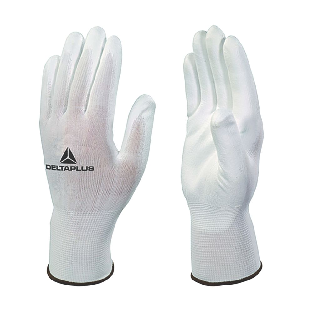 Delta Plus VE702P PU-Coated Palm Gloves White Large 12 Pack