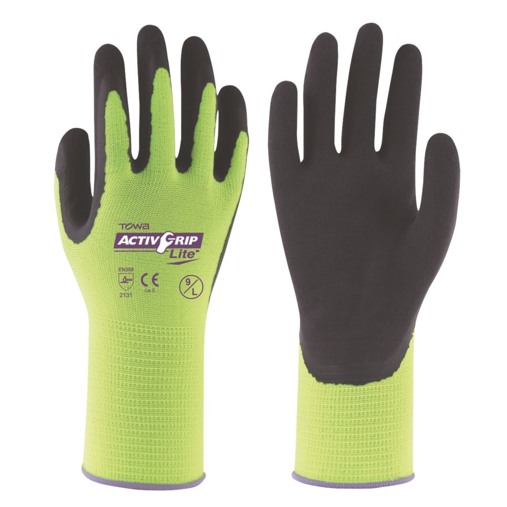 Towa ActivGrip Lite Latex-Coated Palm Gloves Black / Yellow X Large