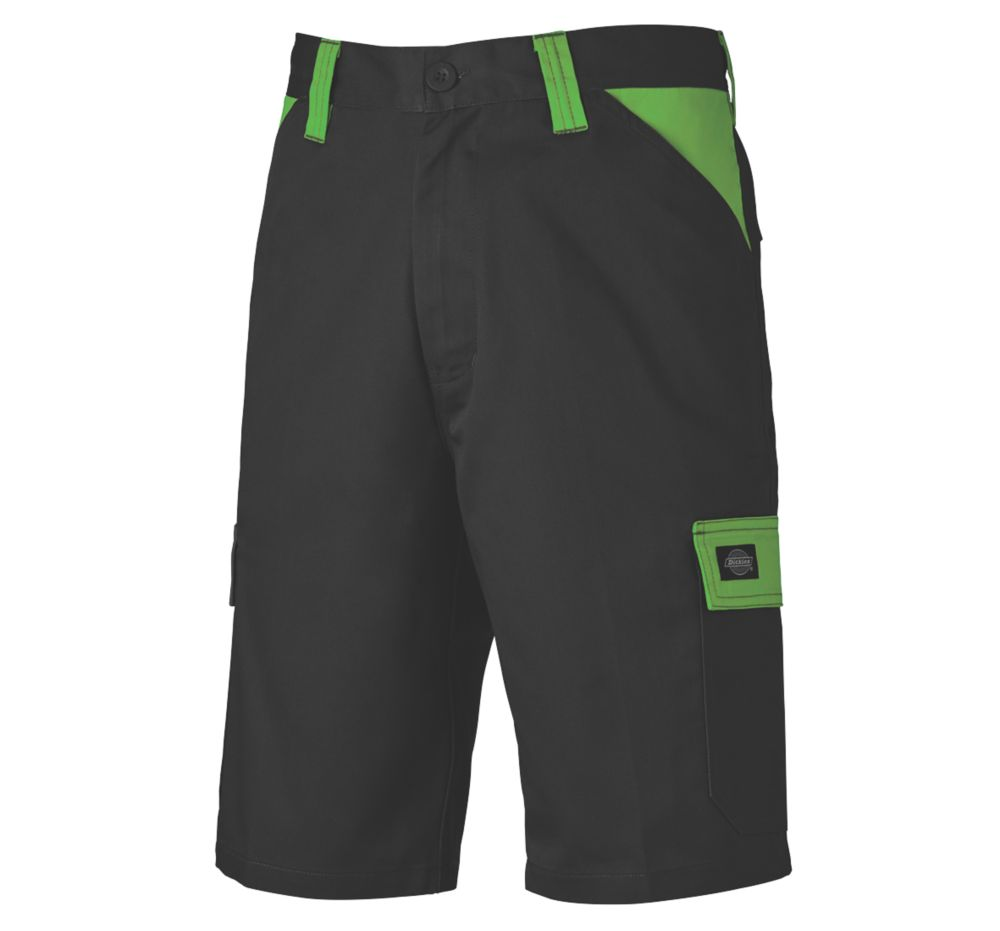 "Dickies Everyday Work Shorts Black / Lime 38"" W"