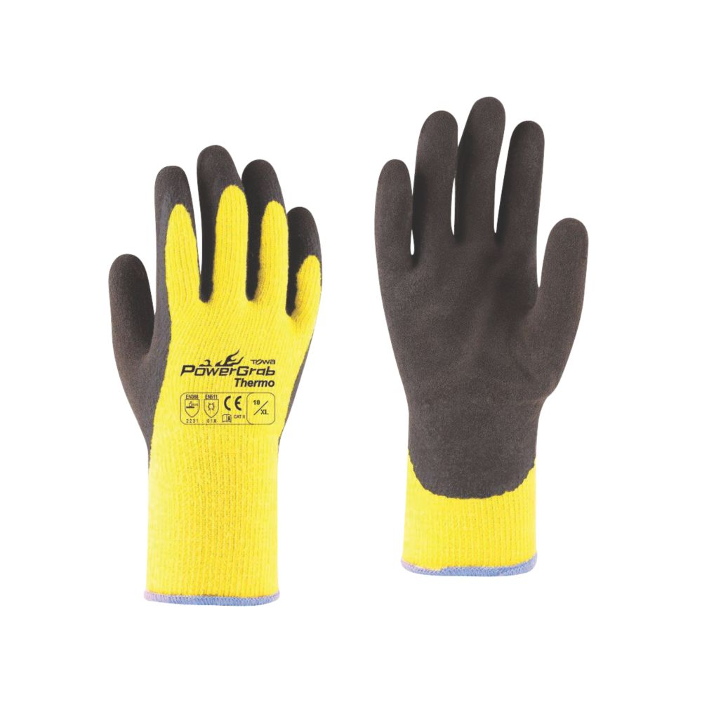 Towa PowerGrab Thermo Thermal Grip Gloves Black / Yellow X Large