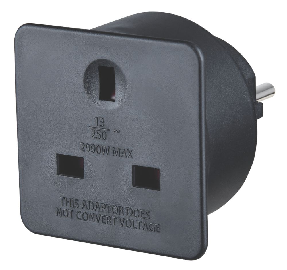 Masterplug  13A Unfused UK to Euro Travel Adaptor Black
