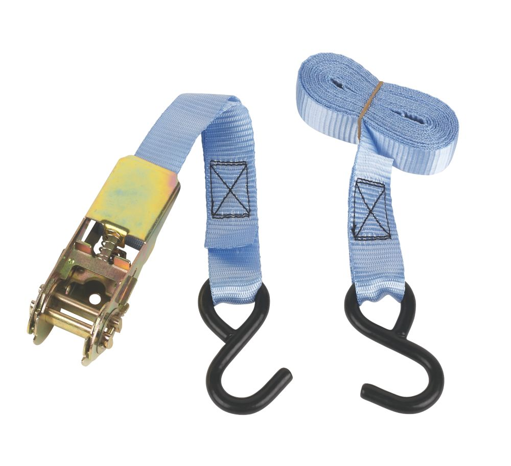 Ratchet Tie-Down Strap with Hooks 3m x 25mm