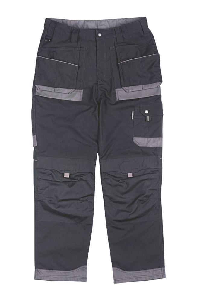 """Dickies Eisenhower Tuff Work Trousers Black / Grey 34"""" W 31"""" L"""