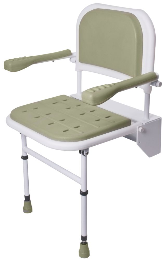 Nymas Wall-Mounted Padded Shower Seat with Back & Arms Grey