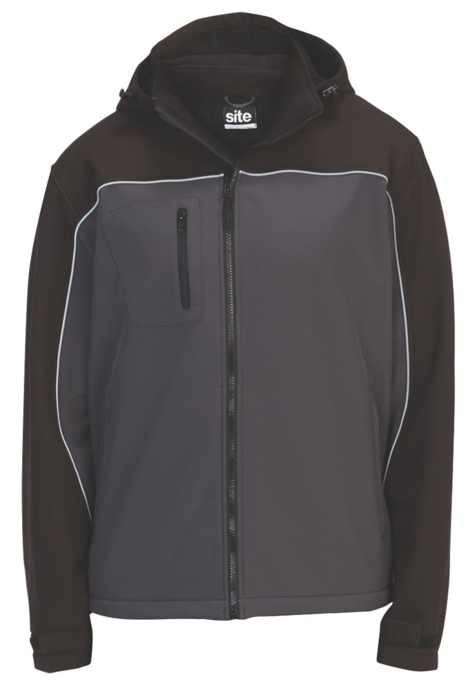 "Site Kardal Water-Resistant Softshell Jacket Black /  Grey Medium 48"" Chest"