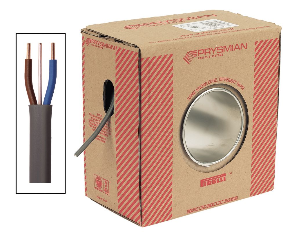 Prysmian 6242Y Grey 10mm² Twin & Earth Cable 50m Drum