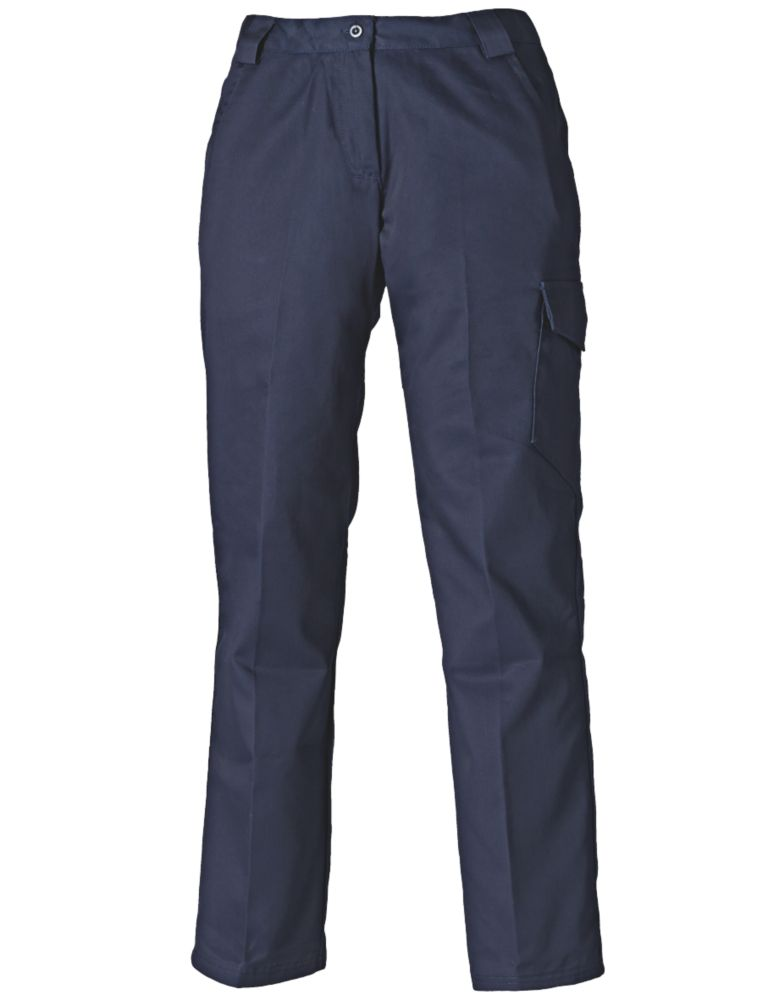 "Dickies Redhawk Ladies Work Trousers Navy Blue Size 16 31"" L"
