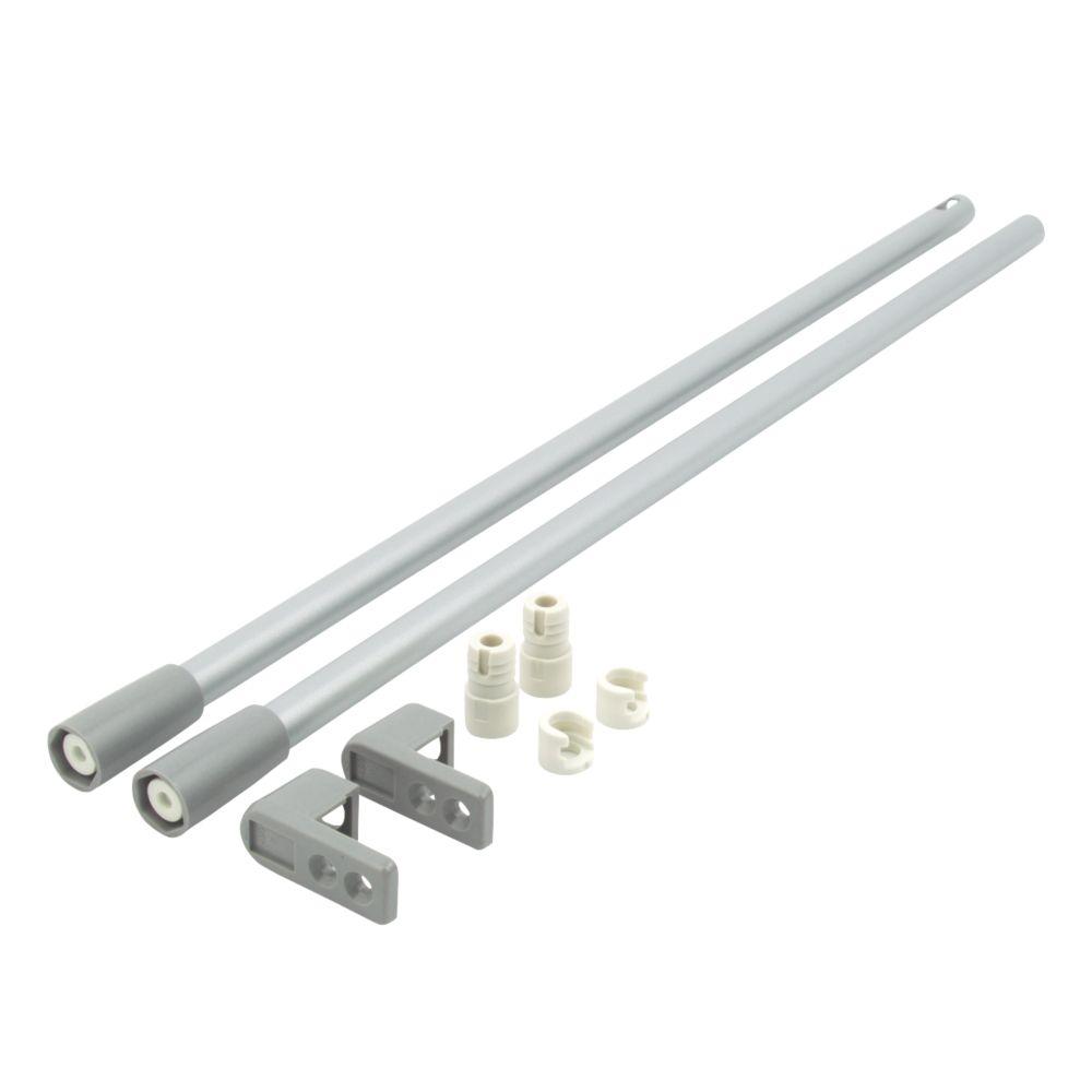 Hafele Drawer Rail Set Grey 450mm 2 Pack
