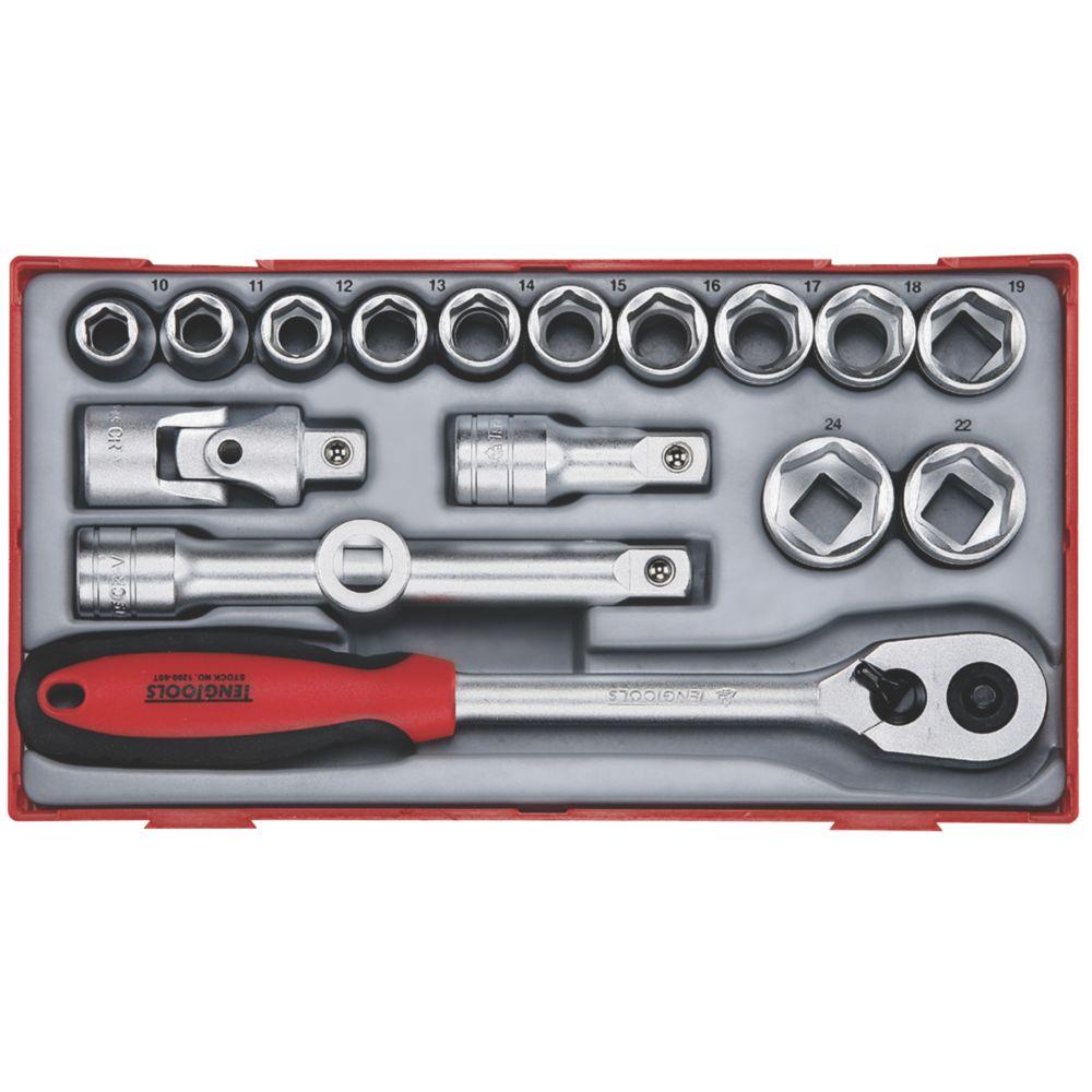 """Teng Tools TT1218 1/2"""" Drive Socket Set 17 Pieces"""
