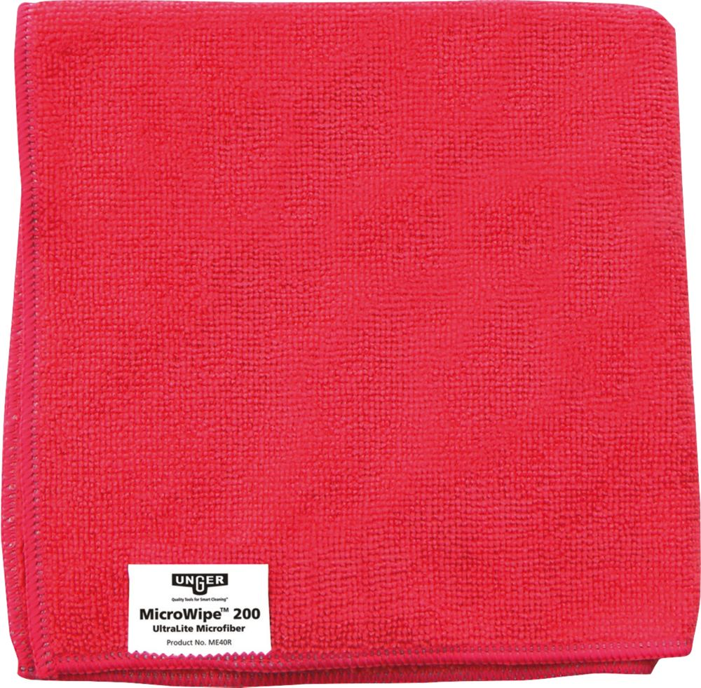 Unger Microfibre Cloths Red 400 x 400mm 10 Pack