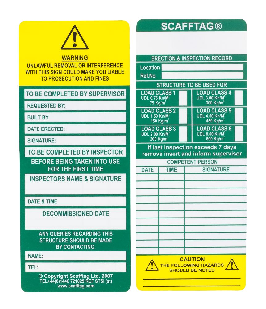 Scafftag  Scaffold Standard Inspection Inserts 10 Pack