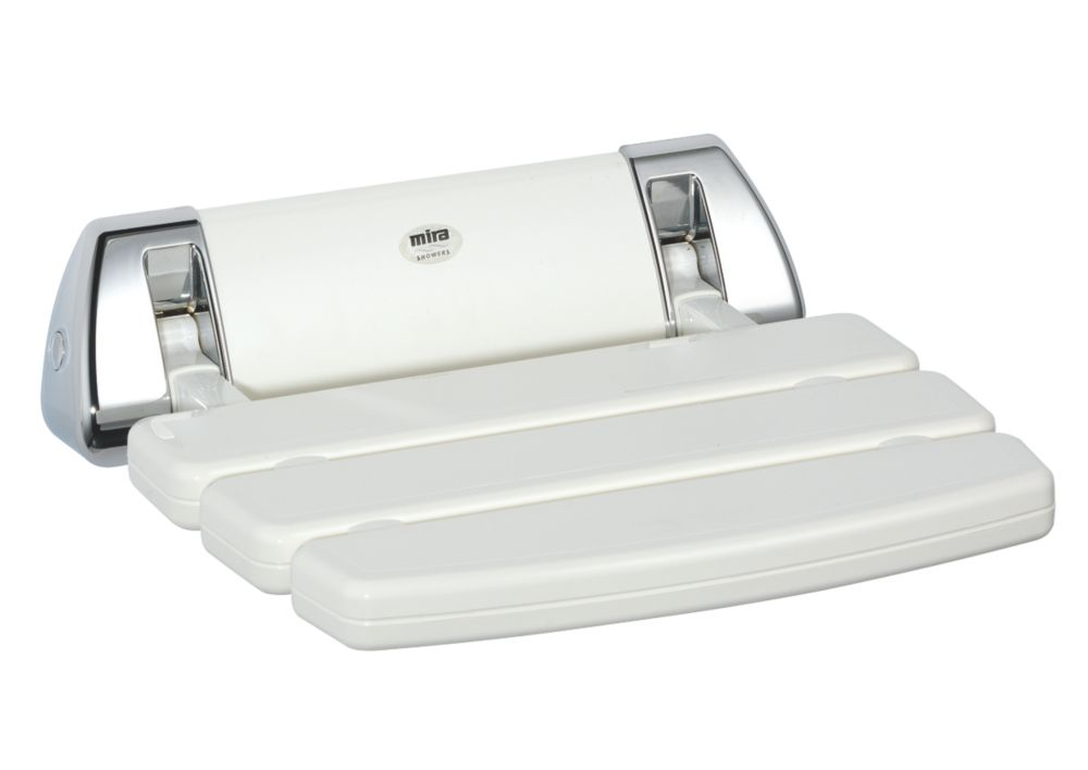 Mira Wall-Mounted Shower Seat White / Chrome