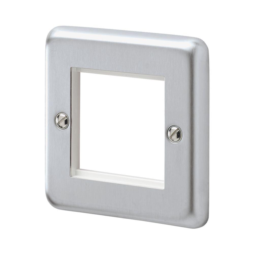 MK Albany Plus 2-Module Modular Light Switch Surround Brushed Chrome