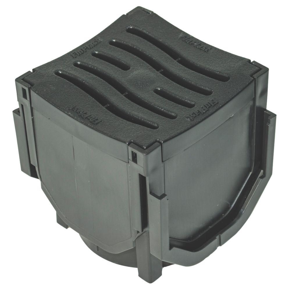 FloPlast FloDrain Corner Unit Black 118mm x 136mm