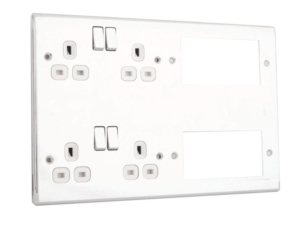 British General Nexus Metal 13A 4-Gang 2 x 2-Gang Combination Plate Polished Chrome with White Inserts