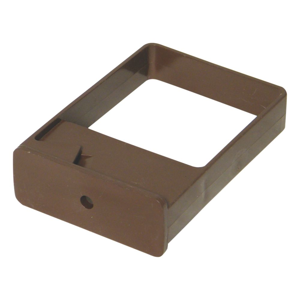 FloPlast Square Downpipe Clips Single Fix 65mm Brown 10 Pack
