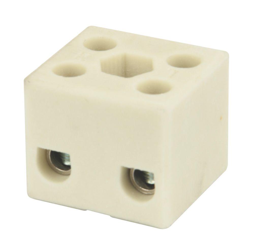 Hylec Double Pole 32A Steatite Ceramic Terminal Blocks Pack of 5