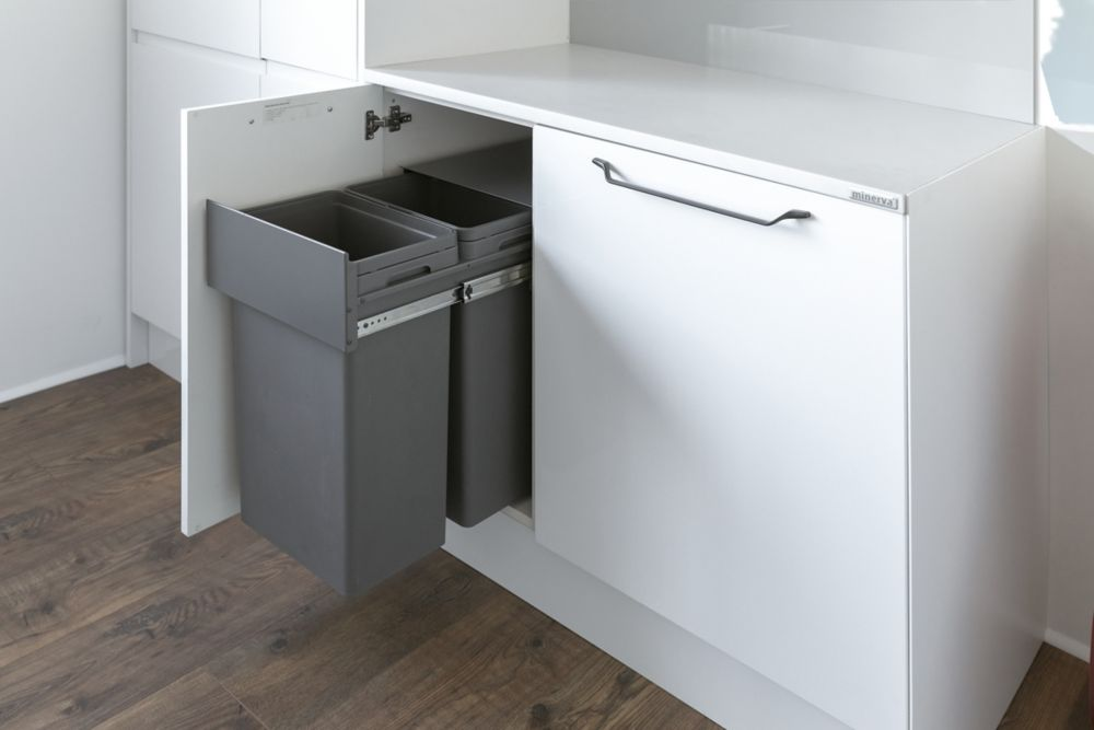 Hafele Waste Boss Duo Pull-Out Kitchen Bin Anthracite Grey 2 x 32Ltr