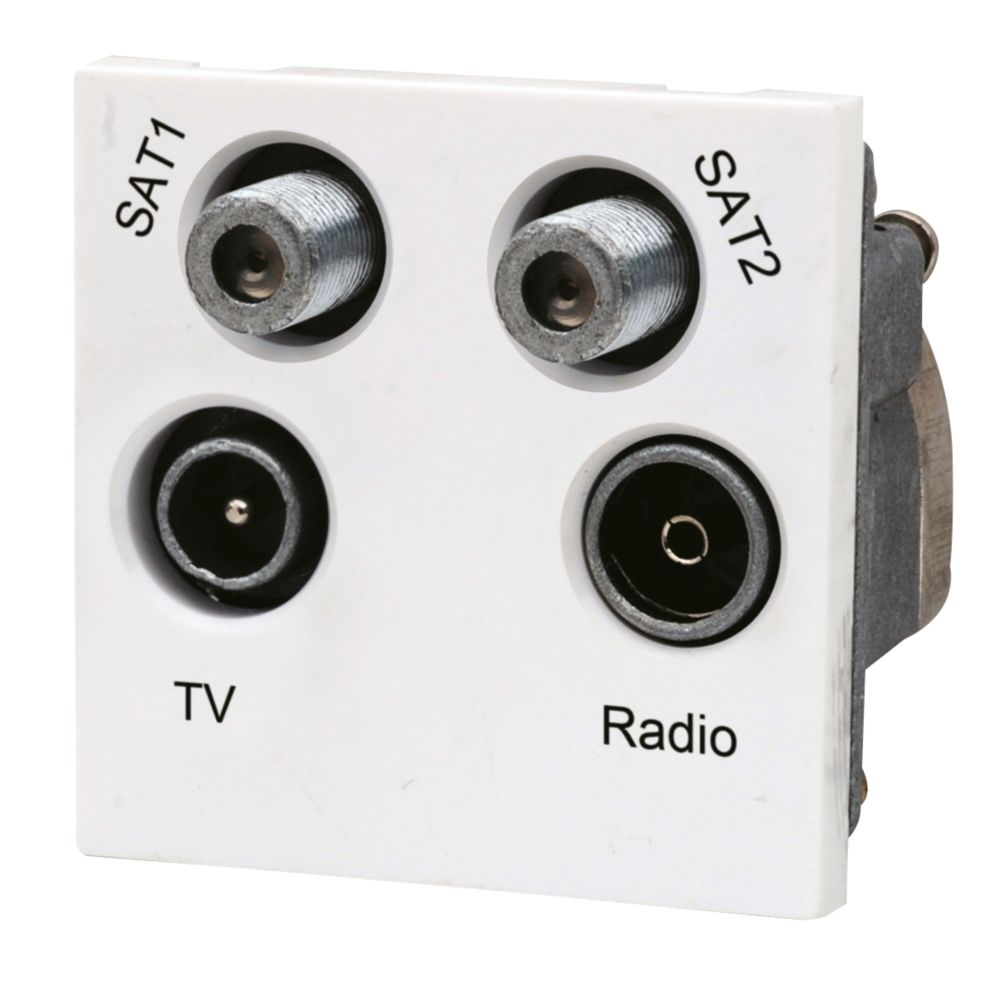 LAP TV, FM & 2 Satellite Quadruplex Grid Module White