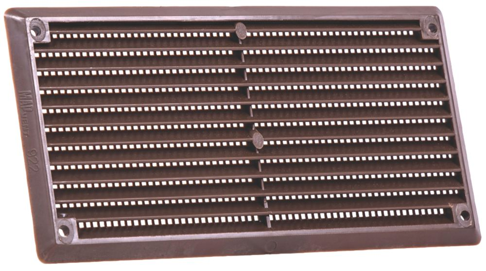 Map Vent Fixed Louvre Vent with Flyscreen Brown 152 x 76mm