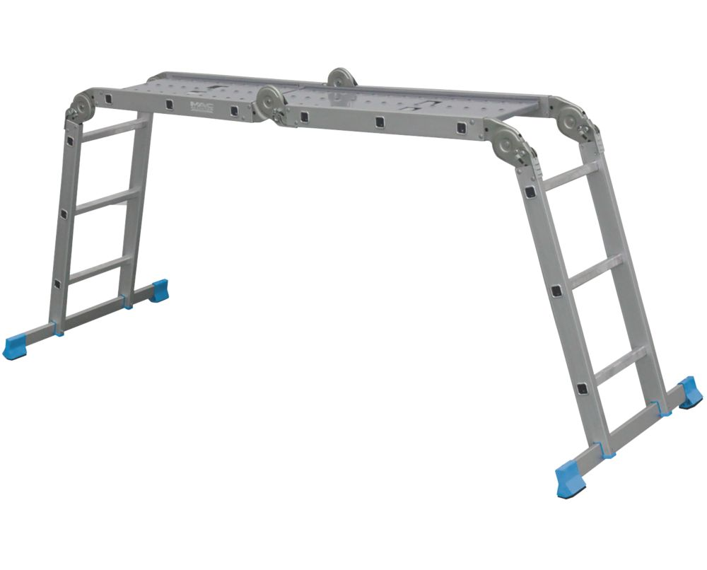 Mac Allister  4-Section Aluminium Folding Ladder With Platform 3.17m