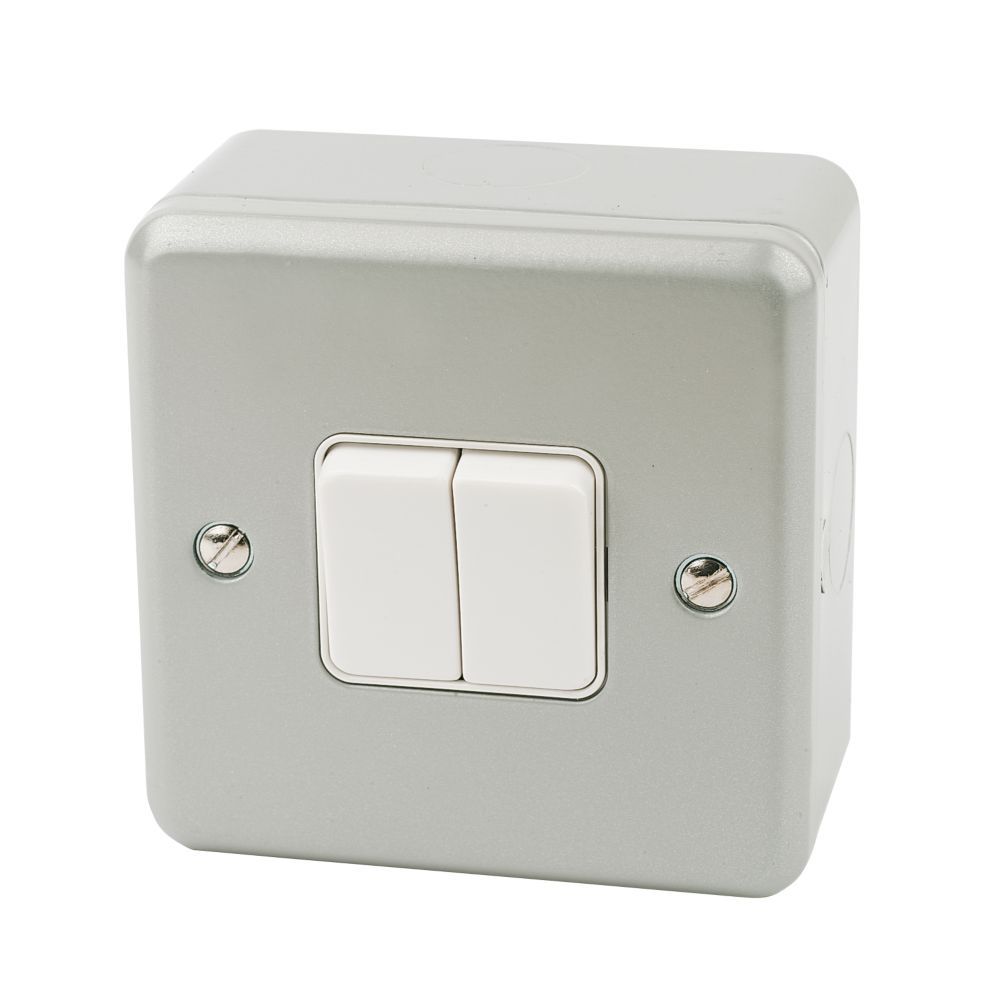 MK Metalclad Plus 10AX 2-Gang 2-Way Metal Clad Light Switch with White Inserts