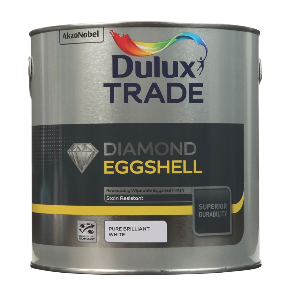 Dulux Trade Diamond Quick-Drying Eggshell Paint Pure Brilliant White 2.5Ltr