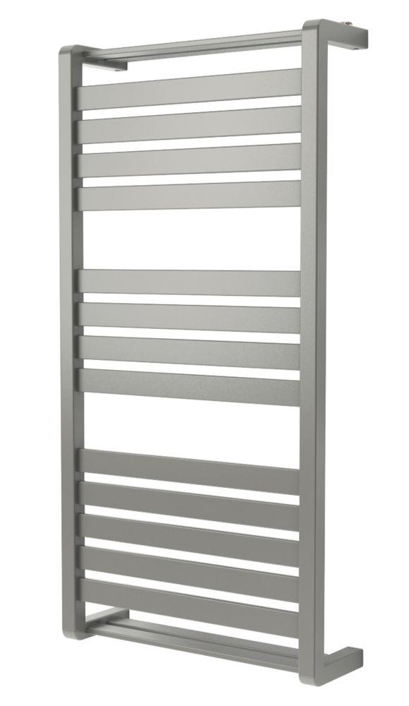 GoodHome Loreto Vertical Water Towel Warmer 1000 x 500mm Grey / Silver 1863BTU