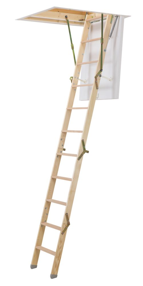Mac Allister Space Saving 4-Sections Insulated Timber Restricted Space Loft Ladder Kit 2.76m
