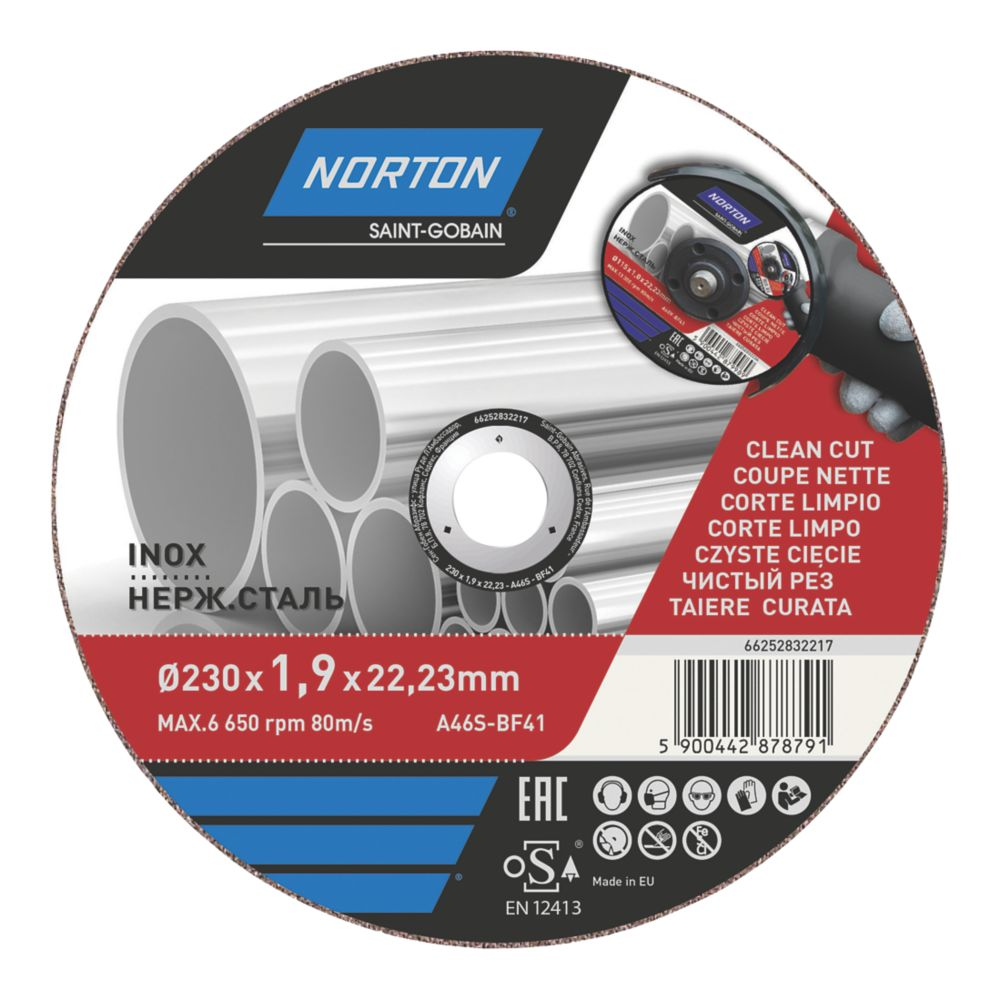 "Norton  Stainless Steel Metal Cutting Disc 9"" (230mm) x 1.9 x 22.2mm"
