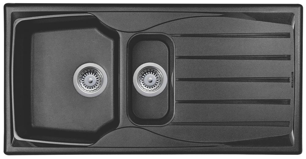 Astracast Sierra Teflite Sink Black  1.5 Bowl Reversible 980 x 500mm