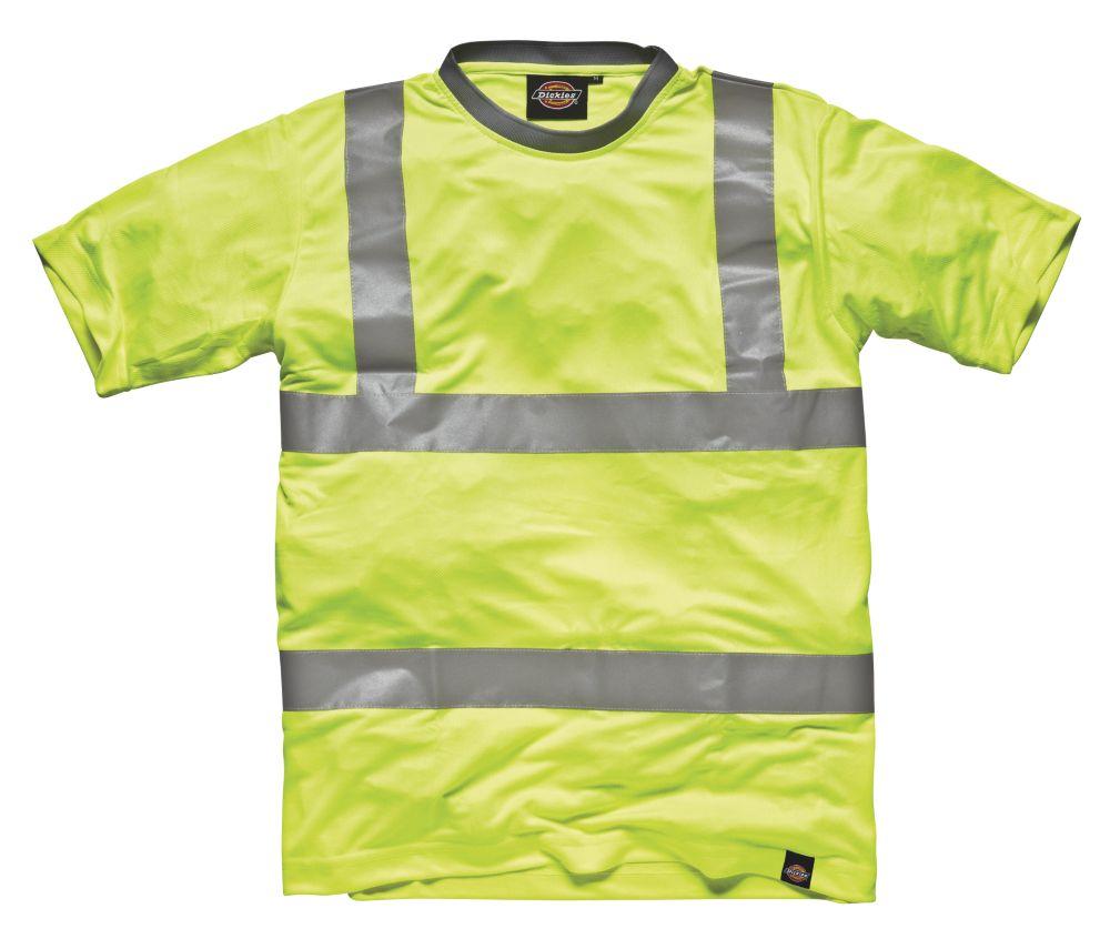 "Dickies SA22080 Hi-Vis T-Shirt  Saturn Yellow Large 46"" Chest"