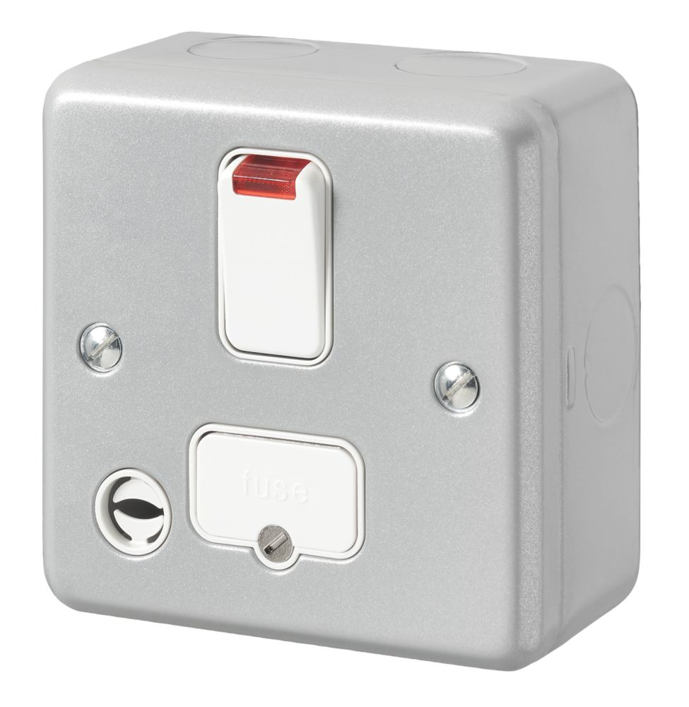 MK Metal-Clad Plus 13A Switched Metal Clad Fused Spur & Flex Outlet with Neon with White Inserts