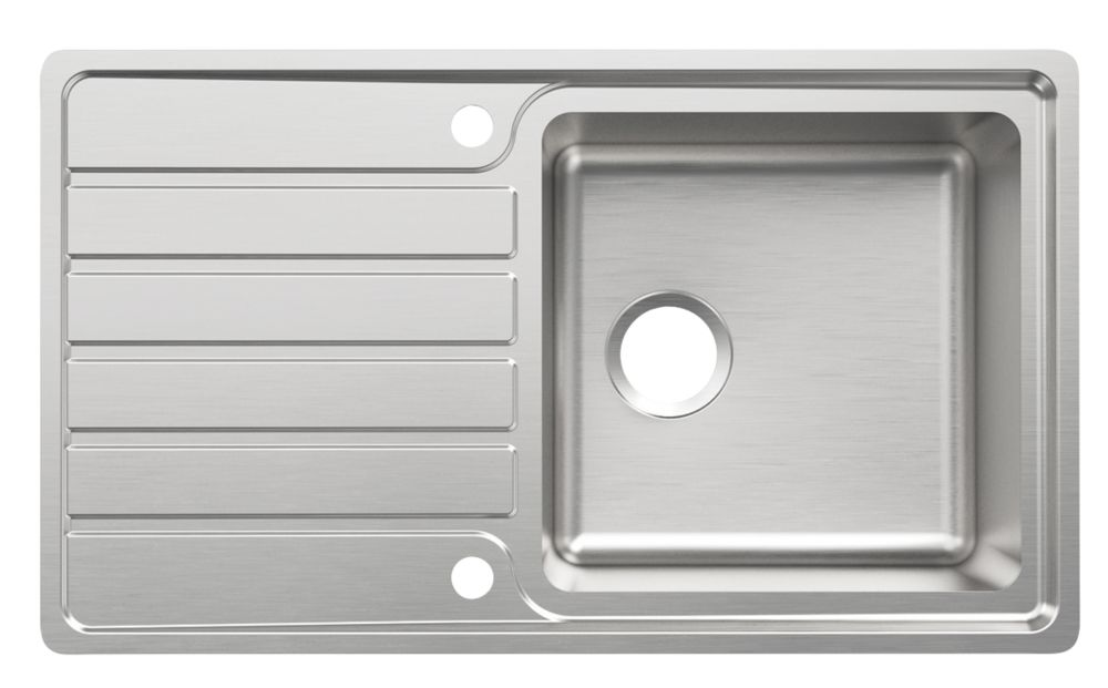Cooke & Lewis Apollonia Kitchen Sink & Drainer Stainless Steel 1 Bowl 860 x 500mm