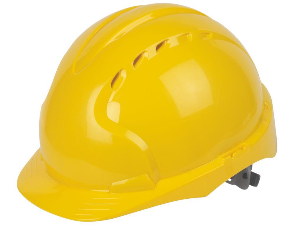 JSP EVO3 Comfort Plus Adjustable Slip Vented Safety Helmet Yellow