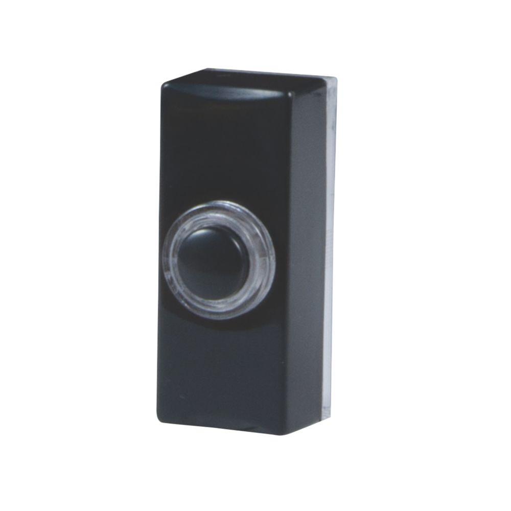 Byron  Wired Illuminated Doorbell Bell Push Black