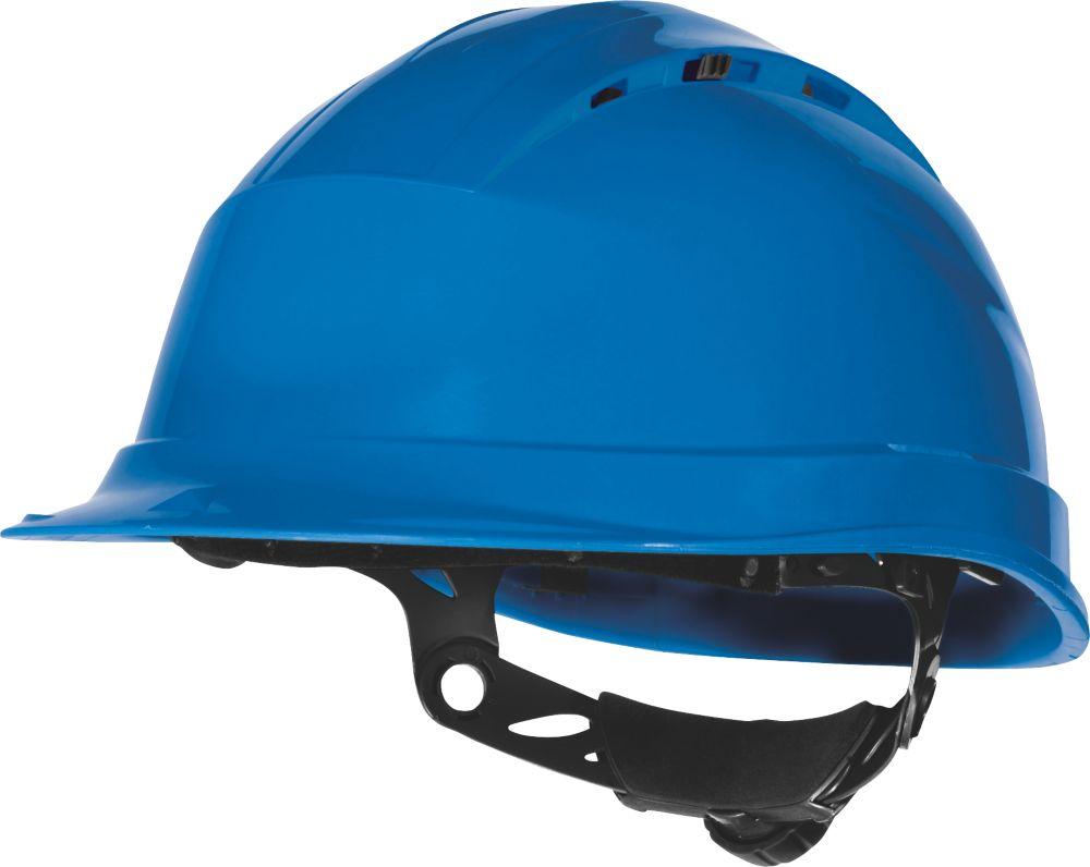 Delta Plus Quartz Up 4 Vented Rotor Wheel Ratchet Safety Helmet Blue
