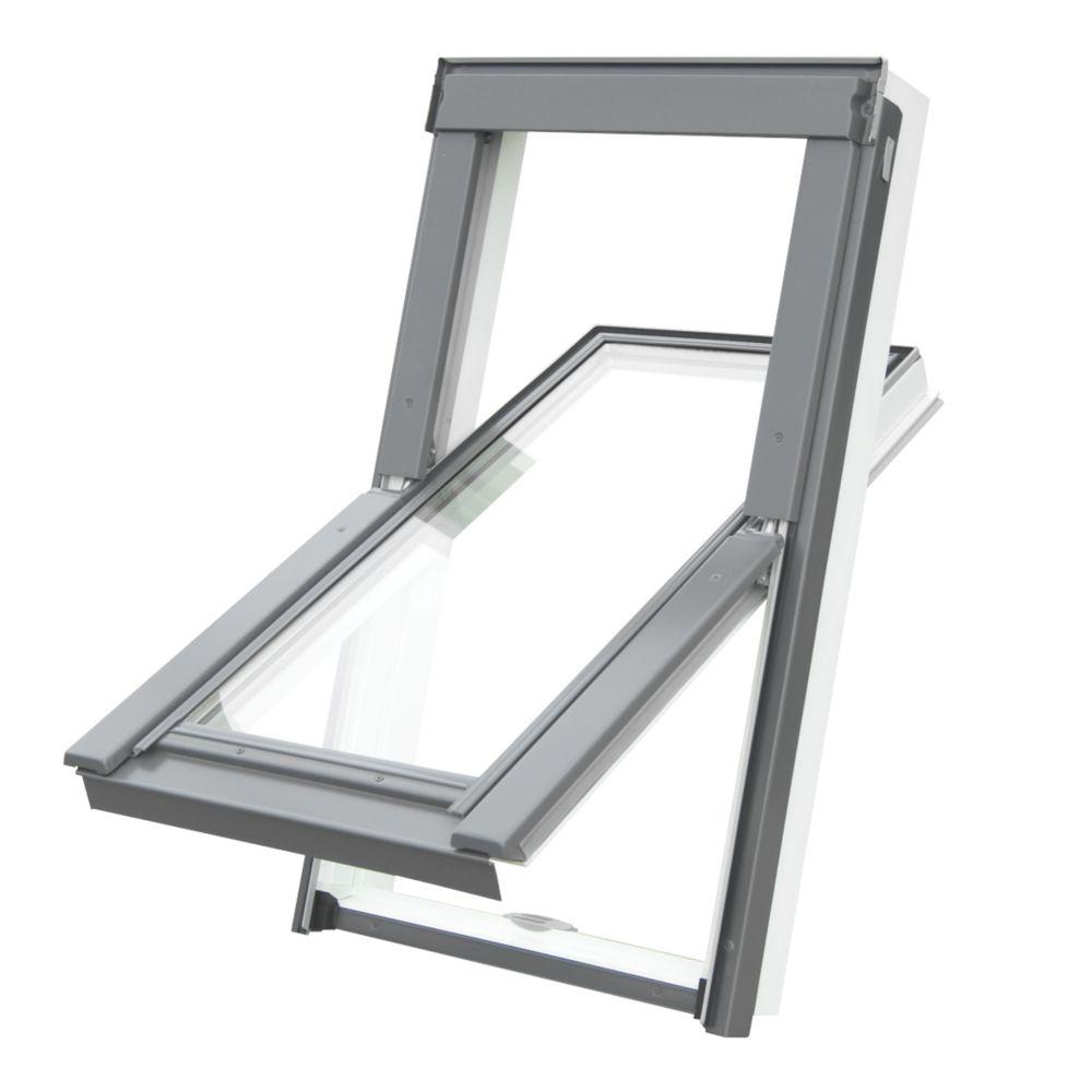 Tyrem  C4A Manual Centre-Pivot White uPVC  uPVC Roof Window Clear 550 x 980mm