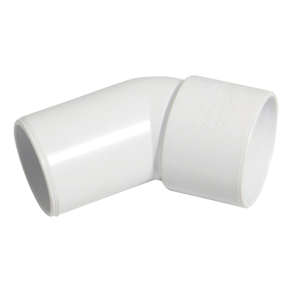 FloPlast Solvent Weld Conversion Bend 135° White 32mm 5 Pack