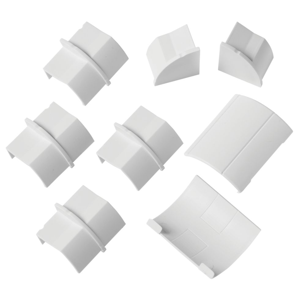 D-Line Plastic White Decorative Trunking Floor Trim Accessories Pack 8 Pcs