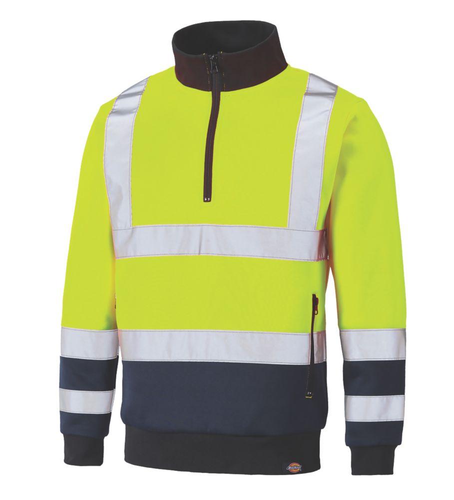 Dickies SA22092 Hi-Vis Quarter Zip Sweatshirt Yellow / Navy Medium  Chest
