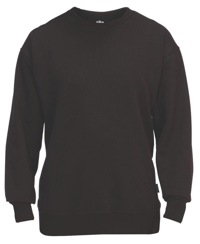"""Site Wingleaf Round Neck Sweatshirt Black X Large 50"""" Chest"""