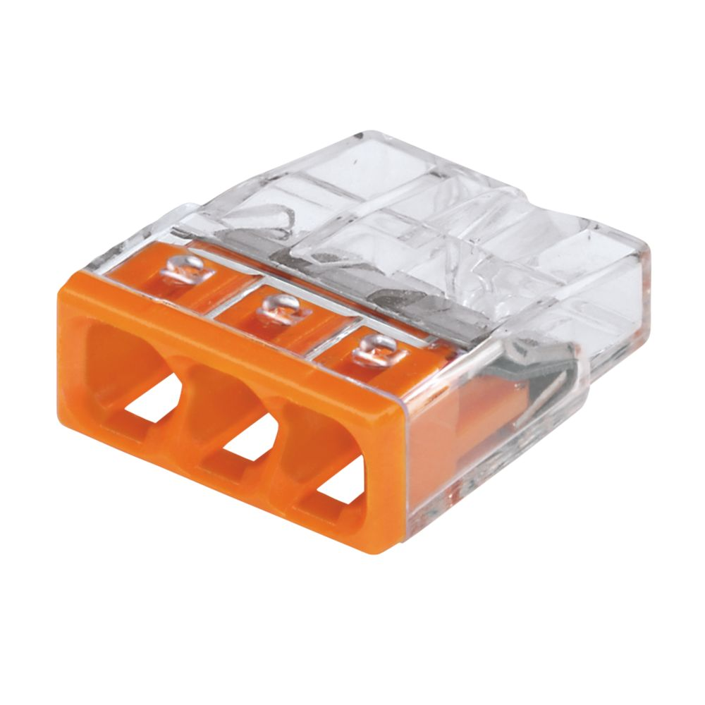 Wago 3-Way Push-Wire Connectors 24A Pack of 100