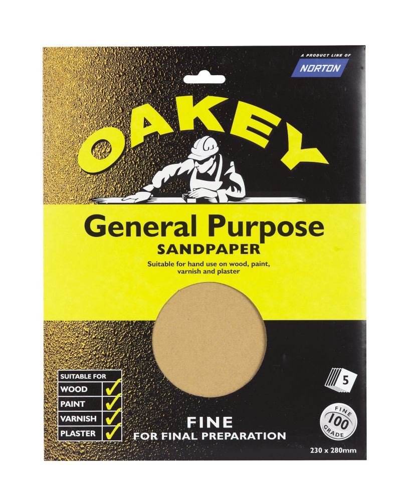 Oakey Glass Paper Unpunched 280 x 230mm 100 Grit 5 Pack