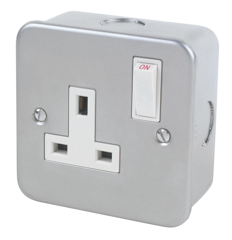 13A 1-Gang SP Switched Metal Clad Socket with White Inserts