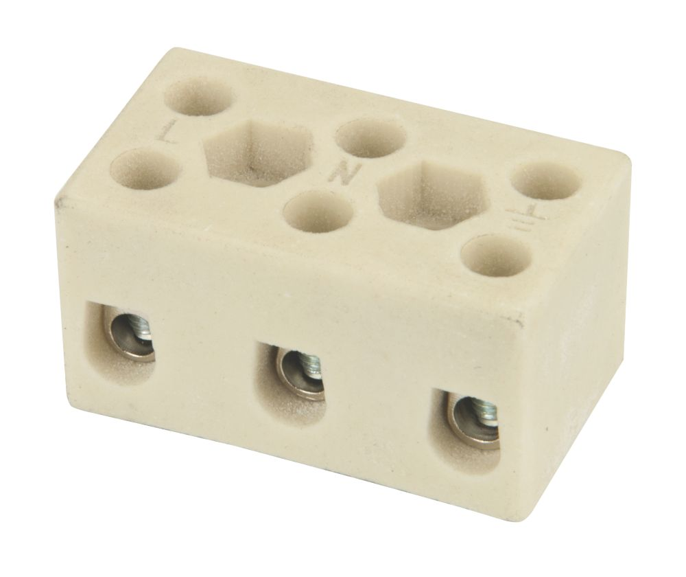 Hylec Triple Pole 32A Steatite Ceramic Terminal Blocks Pack of 5